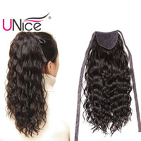 Wholesale Ponytail Hair Extension Blonde - UNice Hair Brazilian Hair Ponytails 100% Human Hair Extensions Clip In Nice Curl Wet And Wavy Cheap Wholesale 14-22inch Lace Ribbon Ponytail