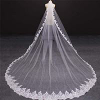Wholesale bridal face veils - 2018 Real Photos Lace Bridal Veils Blusher Cover Face Cathedral Shining Sequined Lace Wedding Veil with Comb New Bridal Veils