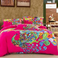 Wholesale King Size Peacock Bedding - Wholesale-100%Cotton Oriental 3D Peacock Boho Bedding Sets King Queen Size 4Pcs Designer Comforter Cover Set Bed Sheet Pillowcases