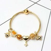 modeschmuck königin großhandel-Neue Mode Armbänder Für Pandora Europäischen Charms Liebes Herz Perlen Queen Bee anhänger Armreif für Weihnachtsgeschenk Diy Schmuck