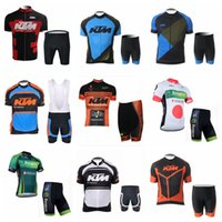 Wholesale moutain bikes - KTM EUROPCRA team Cycling Short Sleeves jersey shorts sets New Men Cycling Jersey Moutain Bike Set Quick Dry Mens Bicycle Suit 841014