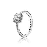 s logo diamante al por mayor-Real 925 plata esterlina CZ Diamond RING de boda con LOGO Caja original para anillos de Pandora Regalo de Navidad para mujeres