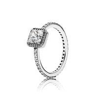 s logo diamond venda por atacado-Real 925 Sterling Silver CZ Anéis de Casamento Diamante com LOGOTIPO Caixa original para anéis de Pandora Presente de Natal das Mulheres