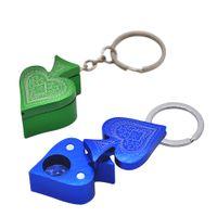 Wholesale Portable Poker - Portable Pocket Size New Style MINI Metal Poker Peach Heart Shape Pipe Key Chain Smoking Pipe Aluminum Alloy Pipe