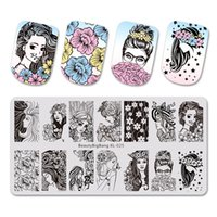 Wholesale xl stamping plates resale online - BeautyBigBang stamping for nails Beautiful Young Girl Flower Image nail stamper Nail Template stamping plates BBB XL