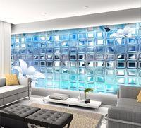 ingrosso carta da parati quadrata 3d-3d wallpaper murale art decor picture backdrop Moderno soggiorno hotel ristorante argento mosaico piazze pittura murale pannello