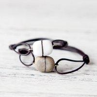 ornamentos frisados venda por atacado-Cerâmica Casais pulseira de contas Boudoir Bohemian pingente Vintage Rope Pulseira Cadeia ornamento Unisex