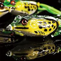 juego de señuelos minnow al por mayor-10 Unids / lote Suave Rana Señuelo de la Pesca Plástico Suave Cebo Top Agua Crankbait Minnow Popper Tackle Bass Cabeza de serpiente Catcher Baits Set