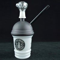 x evol glas großhandel-Cool Dabuccino Cup Rig Glass Sandgestrahlte Starbuck Cup Dab Konzentrat Oil Rig HITMAN GLAS DABUCCINO X EVOL Bongs Wasserpfeife Fimble Leaf