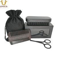 MOQ100pcs Custom LOGO Men Beard Care Set Fine & Coarse Teeth Black Wood Combs Hair Combs Boar Bristle Beard Brush & Scissors in Gift Box