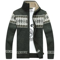 Wholesale mens warm cardigan resale online - Men Print Stand Collar Cardigan Masculino Autumn Winter New Sweater Plus Size S XL Warm Mens Knitted Wear Stitching High Quality Free Ship