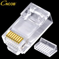 rj45 cat6 connector Canada - CNCOB two-piece rj45 network connector Gigabit Ethernet network cable connector modular plug Cat6 utp crystal head gold-plated