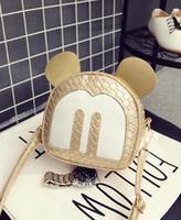 Wholesale diamante gold heart resale online - 2018 Korean Version Of The Mini explosive Miss Mickey Women s Shoulder Messenger Bag Children Weave Multi color Packet