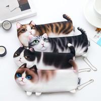 kedi mektubu kalemleri toptan satış-2018 YENI Kawaii Yenilik Makyaj Çantaları Karikatür Kedi Kalem Kutusu Yumuşak bez Kız Erkek Öğrenci için Okul Kırtasiye Kalem Çanta Hediye