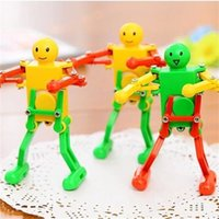 Wholesale robot animals cartoon - Cartoon Funny Toy Improve Baby Exploration Interest Wind Up Toys Eco Friendly Upper Chain Dance Robot Popular 1 39lc W