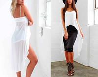 langer weißer camis großhandel-Frauen Sommer Sleeveless Camis Sexy Casual Sling Strap Tops Chiffon Strand Cami Neue Mode Dünne Lange Weiße Tops Frauen Kleidung