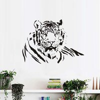 модные наклейки на стену оптовых-PVC Waterproof Animals DIY Wall Sticker Tiger Lying Living Room Removable Modern Fashionable Home Decor