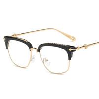 прозрачные очки для женщин оптовых-Cubojue Mens Glasses Women Star  Eyeglasses Frames for Men  Gold Square Half Rim Clear Lens Myopia Diopter Eyewear