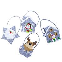 sacs cadeau maison achat en gros de-4pcs mini cadeau de bonbons de noël cadeau traiter fourre-tout pour enfants étoile à cinq branches Santa Claus House Santa House Noël bonhomme de neige