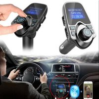 Wholesale mp3 player resale online - T11 MP3 Car Kit Player Bluetooth Handsfree Car Kit Support FM Transmitter Receiver Dual USB Port Big LCD Display Car FM Modulator