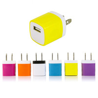 Wholesale apple 6s usa resale online - Wall charger Travel Adapter For Iphone S PLUS V A Colorful Home Plug USB Chargers For Samsung S6 USA Version EU DHL