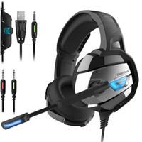 actualizaciones de portátiles al por mayor-ONIKUMA Auriculares de juego mejorados Super Bass Ruido con cancelación de ruido Auriculares estéreo LED con micrófono para PS4 Xbox PC portátil