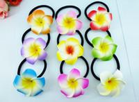 flor de espuma de plumeria frangipani al por mayor-50 Nuevos 9 colores Espuma Flor de Hawai Plumeria Frangipani Flor cintas para el pelo nupcial bandas elásticas 4.5 cm