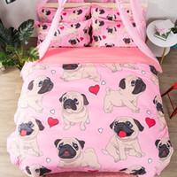 ingrosso letti matrimoniali-Set di biancheria da letto rosa Pug Set di biancheria da letto animale carino per cani 3PCS Twin Full Queen King Size Quilt Cover Set Beddings