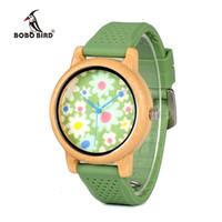 тканевые наручные часы оптовых-Бобо птица WB04 мода причинно часы с бамбук ткань циферблат женские деревянные часы с силиконовыми ремешками наручные часы с BoxY1883104