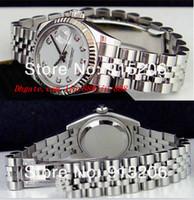 ingrosso orologi di diamanti perle-Orologi di lusso di alta qualità da donna 18k diamante bianco 179174 automatico da polso sportivo da donna in madreperla bianca