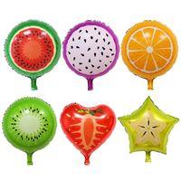 model meyve toptan satış-18 Inç Meyve Alüminyum Balonlar Çoklu Meyve Helyum Balon Çocuk Doğum Günü Düğün Parti Süslemeleri Çilek Balonlar
