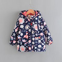 Wholesale bird zipper for sale - Group buy Baby Girls Hooded Jackets Padded Fluff Designer Clothes Thickening Kids Snowsuit Printed Kitten Floral Candy Bird Zipper Winter Coat T