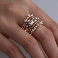 Wholesale unique engagement ring styles resale online - Retro Style Vintage Boho Jewelry Unique Gold Color Micro Rhinestone Rings for Woman Set Punk Ring Sets