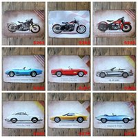 Wholesale Iron Art Car - Mini Cars Motorcycle Tin Sign Printing 20*30cm Metal Art Tin Posters For Bar Cafe Hotel Wall Decor Iron Painting Creative 3 99ljI B
