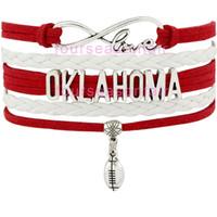 ingrosso bianco braccialetti personalizzati-Personalizzato -Infinity Love Oklahoma Sooners Football Team Bracciale bianco rosso personalizzato braccialetto da polso NCAA amicizia braccialetto