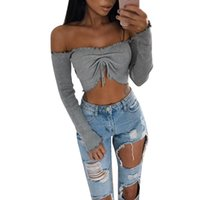 Wholesale Women Nightclub Shirts - Sexy Women Strapless Crop Top Boat Neck Tube Top Ribbed Nightclub Bustier Casual Blusas Ribbed Crop Top Mujer T shirt Hot Sale
