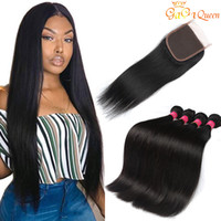 Wholesale 12 inch straight human hair online - 8A Peruvian Straight Human Hair Bundles with Closure Peruvian Virgin Hair With x4 Lace Closure Peruvian Malaysian Indian Hair Bundles
