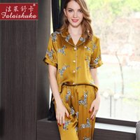 ingrosso pigiami di seta gialli-2018 Nuovo 100% seta pigiama estate femminile manica corta pantaloni pigiama imposta seta genuino giallo stampato donne pigiameria T8153