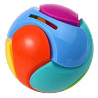 образовательные пазлы оптовых-Пластиковая Сборка Головоломки Красочные Круглый Мяч Копилка Дизайн 3D Головоломки Интеллектуальные Образовательные Игрушки для Детей