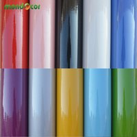 Wholesale Pvc Bathroom Cabinets - Wholesale- 10M   32.80ft Vinyl Glossy Home Decor Wall Papers Kitchen Cabinet Bathroom Living Room Waterproof PVC Self adhesive Wallpaper