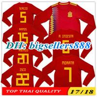 Wholesale Spain Long Sleeve - TOP QUALITY 2018 World Cup MORATA Spain home RAMOS ASENSIO red soccer jersey Long sleeves ISCO A.INIESTA SILVA Espana away football shirts