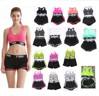 Wholesale two set underwear - 15 Colors Pink Letter Tracksuit Bra Set Short Pants Two Pieces Women Underwear Crop Top Bra Vest Shorts Fitness Yoga Sports Suit Summer