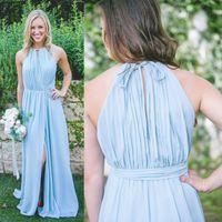 Wholesale Flowing Summer Dresses - 2018 New Cheap Light Sky Blue Bridesmaid Dresses A Line Jewel Neck Chiffon Flow Split Long Maid of Honor Gowns