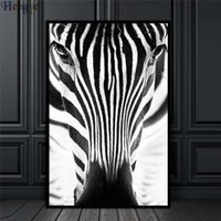 zebra öl leinwand großhandel-ZYXIAO Große Größe Poster und Drucke tier zebra Ölgemälde Leinwand Kein Rahmen Wandbilder für Wohnzimmer Dekoration ys0033
