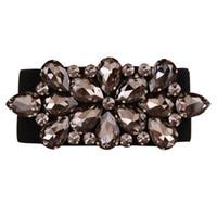 ingrosso cappotto di pelliccia di diamanti neri-2017 nuovo arrivo di fascia alta di lusso nero diamante gemma di cristallo elastico cintos femininos femminile cappotti di pelliccia giù cinture per le donne