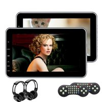 Wholesale Hd Audio Ports - 2IR headphones included! 10.1'' Pair of Car Headrest car DVD Player HD Twin Screen Rearseat Monitor Dual Video Audio Players HDMI Port