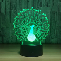 Wholesale Peacock Lamps - Peacock 3D Optical Illusion Lamp Night Light DC 5V USB Charging AA Battery Wholesale Dropshipping Free Shipping