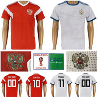 5e62c70e5dc Men Soccer Russia Jerseys 2018 World Cup 6 Cheryshev 9 Dzagoev Football  Shirt Kits 10 Smolov 8 Gazinskiy 17 Golovin Home Custom Name