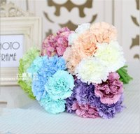 buquê de flores de cravo venda por atacado-Buquê de simulação de cravo Noiva segurando flores dia das mães flores