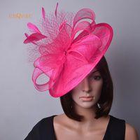 ingrosso fascinator piuma rosa calda-Cappello da donna Royal blue red hot pink Grande fascinator di sinamay con piume per matrimoni, gare, party, chiesa del Derby Kentucky